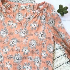 Lucky Brand Tribal Popover Blouse Size L